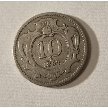 10 Heller 1893r. Austria Franz Joseph I Stan III