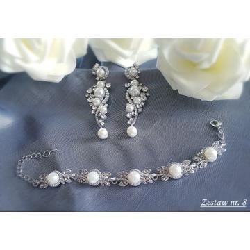 Komplet biżuteria ślubna wieczorowa perły Z8