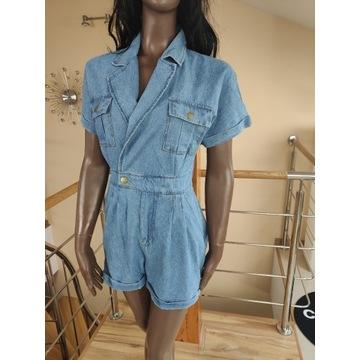 Kombinezon jeans niebieski szorty r.S