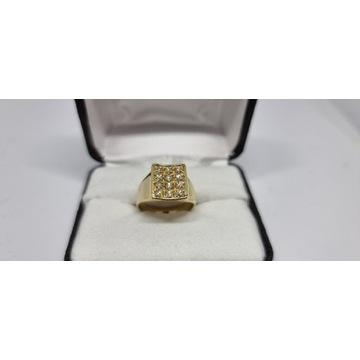 Złoty sygnet z diamentami 750 7.18 g r 16
