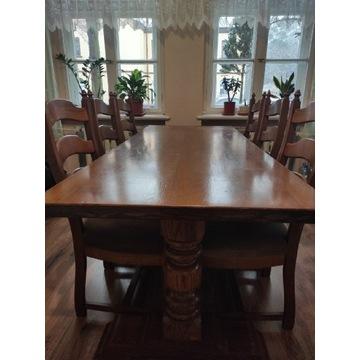 Stół dębowy z 6 krzesłami