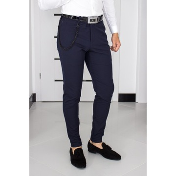 Spodnie Zara W31 (S - 40) Granatowe Slim 1336004