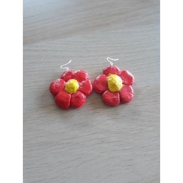 Kolczyki ręcznie robione kwiaty