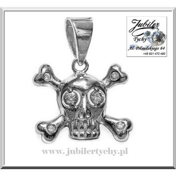 Srebrny wisiorek czaszka srebrna trupia czacha 925