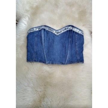 Bralet jeans cekiny L, zamek