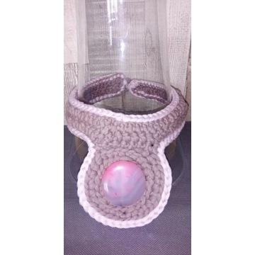 Naszyjnik handmade szydełko i agat