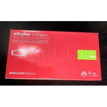 Rękawiczki nitrylowe różowe nitrylex collagen 100