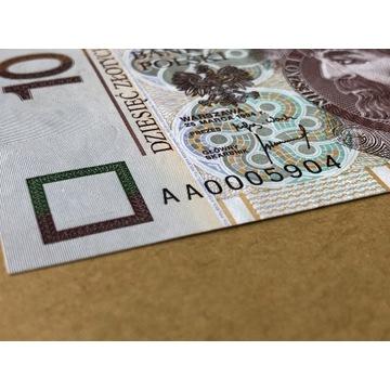 BANKNOT 10 ZŁOTYCH 1994 - SERIA AA 0005904