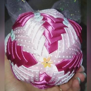 BOMBKA handmade ze wstążki RĘKODZIEŁO - 10cm RÓŻ