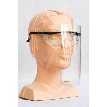 Przyłbica ochronna regulowana z okularami