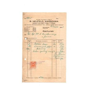 DOM HANDLOWY - B. NEUFELD - WARSZAWA -RACHUNEK 31r