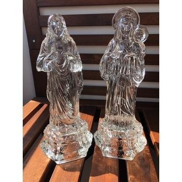 Dwie figury figurki szkło Jezus Maria Ząbkowice
