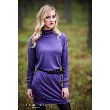 Tunika/sukienka wełniana, fiolet; polski produkt