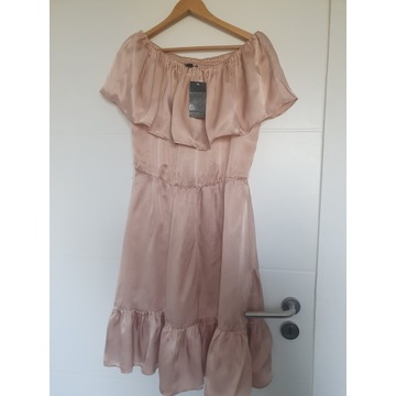 MANGO piękna sukienka hiszpanka pudrowy róż L 40
