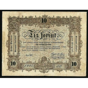 WĘGRY 10 FORINT 1848  P#S117 VF+ RZADKI !