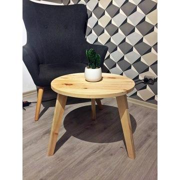Drewniany stolik kawowy, okrągły, styl skandynawsk