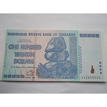 ZIMBABWE- 100000000000000 DOLARÓW- 2008  -UNC