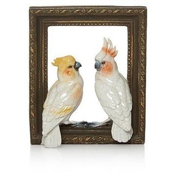 Ramka z ptaszkami / papugami - płaskorzeźba