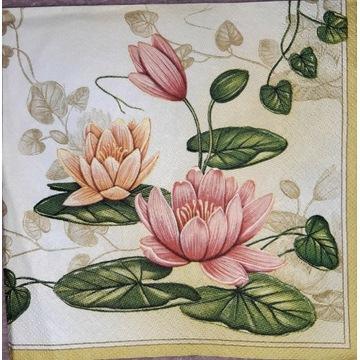Serwetka decoupage 6 szt motyw kwiatowy kazda inna