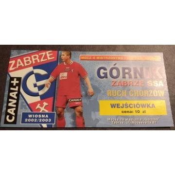 Bilet z meczu Górnik Zabrze Ruch Chorzów 2002/2003