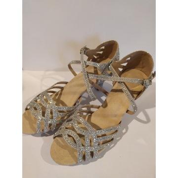 Nowe buty taneczne z cyrkoniami: 39/40, obcas 6 cm