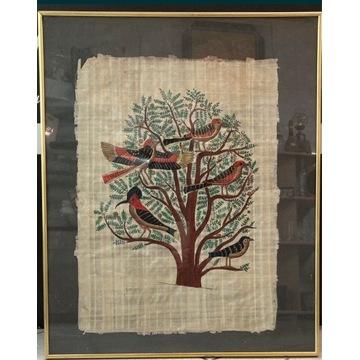 Obraz na papirusie - ptaki. Alurama/szkło 56x46
