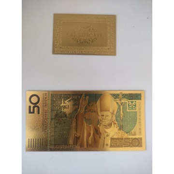 Banknot 50 zł Papież Jan Paweł II pozłacany