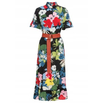 Sukienka z paskiem Guziki kwiaty 34