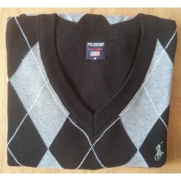 Sweter męski czarno-szary Ralph Lauren roz. M