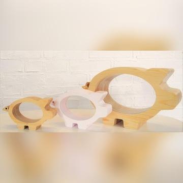 Drewniana skarbonka Świnka
