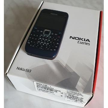 Nokia E63 Biznesowa Niebieska Komplet PL BS BDB