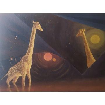 Obraz akrylowy, 40x30 surrealizm, żyrafy