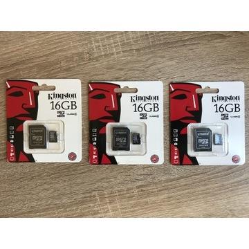 Zestaw 3x Kingston 16GB microSD karta pamięci
