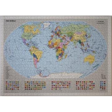 Puzzle Ravensburger mapa świata 1000el. The World