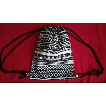Nowy plecak worek workoplecak czarno-biały vintage