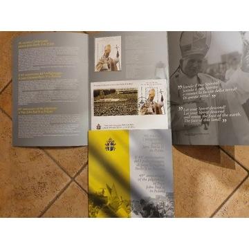 Folder ze znaczkiem 40 lecie pielgrzymki JPII