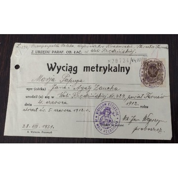 Wyciąg metrykalny 1931