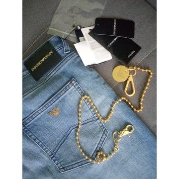 Emporio armani jeansy, spodnie +zawieszka rozm 32