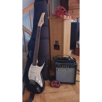 Gitara elektryczna Cort, piec Ibanez, Pocket POD