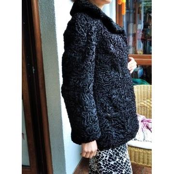 Futro, kurtka karakuła - czarne rozmiar S