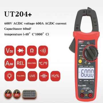 MIERNIK CĘGOWY UNI-T UT 204 + 600A AC/DC True RMS