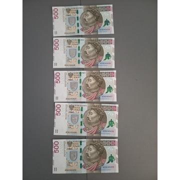 Banknot 500zł 5 kolejnych numerów