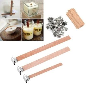 Drewniane knoty do świec z blaszkami 15 szt 150x12