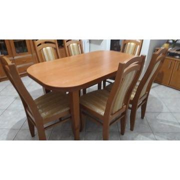 Stół drewniany wymiary 140/180×80 oraz 6 krzeseł