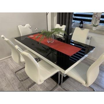 Stół XENON czarno biały nowoczesny szklany blat! I