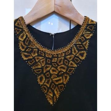 Piękna czarna sukienka maxi boho koraliczki 38 40