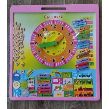 Drewniany Edukacyjny Kalendarz z Zegarem