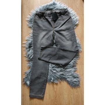 Szare spodnie damskie na gumce tregginsy 40/L nowe