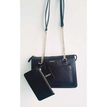 Czarna torebka DKNY SAFFIANO KUFEREK torba lux