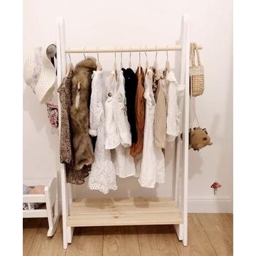 Stojak wieszak garderoba drewniana dla dzieci
